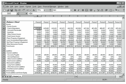 Figure 10-2. The Balance Sheet portion of the business planning starter workbook.