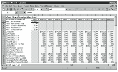 Figure 13-1. The inputs area of the cash flow forecast and analysis starter workbook.