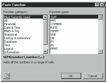 Figure 5-1. The first Paste Function dialog box.