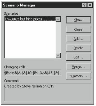 Figure 6-10. The Scenario Manager dialog box.