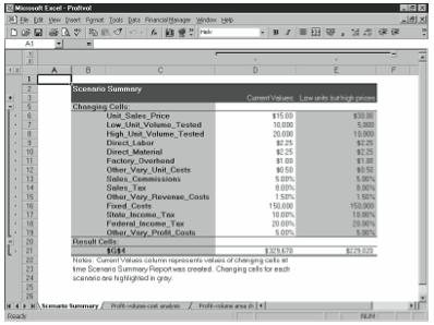 Figure 6-12. A Scenario Summary worksheet.