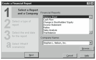 Figure 9-4. The first Report Wizard dialog box.
