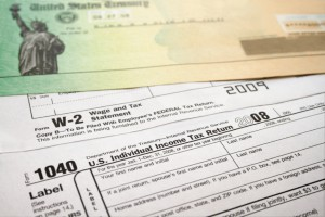 Form 1040 and a US Treasury check